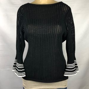 Chico's Size 2 (Large) Black Bell Sleeve Knit Top
